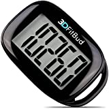 3DFitBud Simple Step Counter Walking 3D Pedometer with Lanyard, A420S (Black)