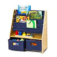 Wildkin Sling Bookshelf with Storage, Features Durable Fabric, Classic Wood Design, and Two Spacious Storage Drawers, Perfect for Encouraging Organization and Making Reading Fun