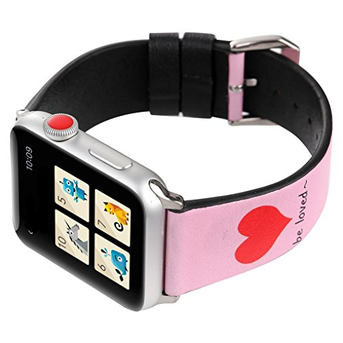 Juzzhou Band For Apple Watch iWatch Series 1/2/3 Sport Edition Leather Love Replacement Wriststrap Bracelet Wristband Wrist Strap With Metal Adapter Adjustable Clasp For Woman Man Lady Pink 42mm by Juzzhou (Image #2)