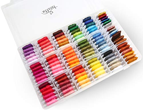 Atteret Embroidery Floss Kit - 108, 6-Strand Colors (99 Cotton, 9 Metallic) on Plastic Bobbins in Organizer. for Cross Stitch/Friendship Bracelets/Tassels/Contemporary Jewelry and Crafts