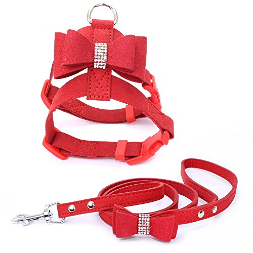 HOOTMALL Quick On Dog Harness Leash Set-Adjustable Bow Knot Dog Harness Leash Set Bling Rhinestone Dog Vest Harness & Leash for Small Puppy Dogs ()