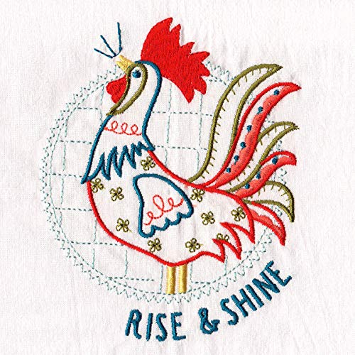 Aunt Martha's Dirty Laundry Rise and Shine Rooster Flour Sack Dish Towel