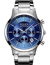 Mens Watches Chronograph Stainless Steel Waterproof Date Analog Quartz Watch Business Wrist Watches for Men Blue