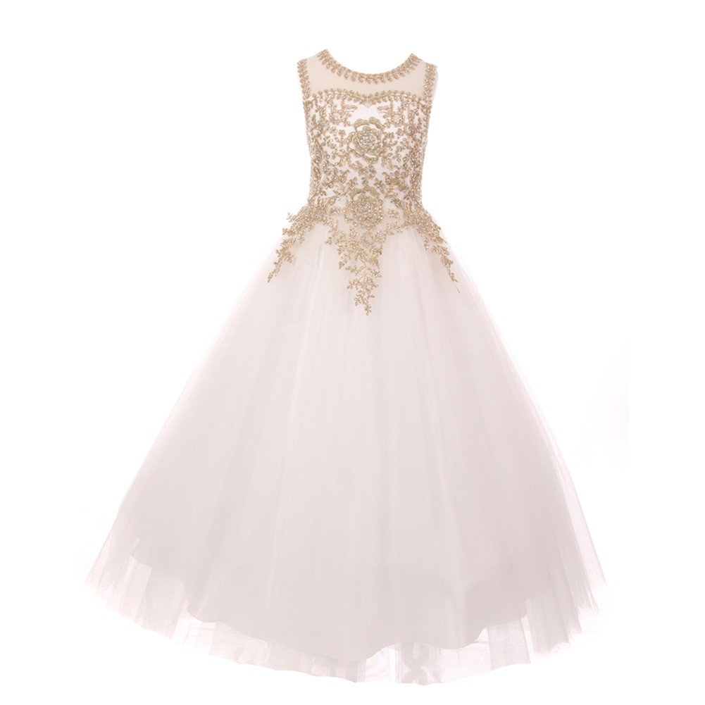 Big Girls Off-White Gold Rhinestone Cording Tulle Junior Bridesmaid Dress 16