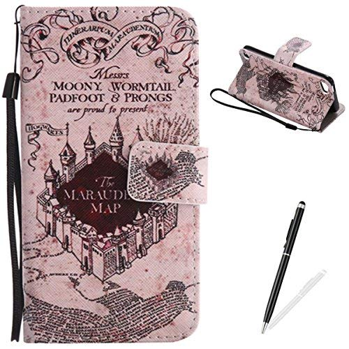 MAGQI iPod Touch 5-6 Case, Premium Flip Stand PU Leather Wallet Magnetic Closure Protective Card Slots Holder Style Cover with Hand Strap for Apple itouch 5/6-Castle ()