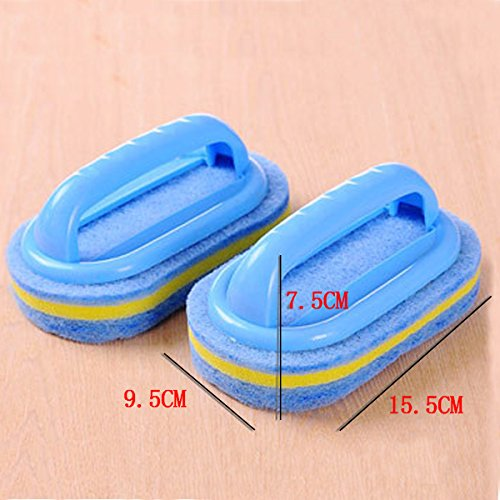 CY Household Cleaning Supplies for Kitchen, Bathroom - Plastic Handle Sponge Brush - Tile, Shower Bathtub Scrubber, Set of 2, Color Send by Random by chuangyu (Image #6)