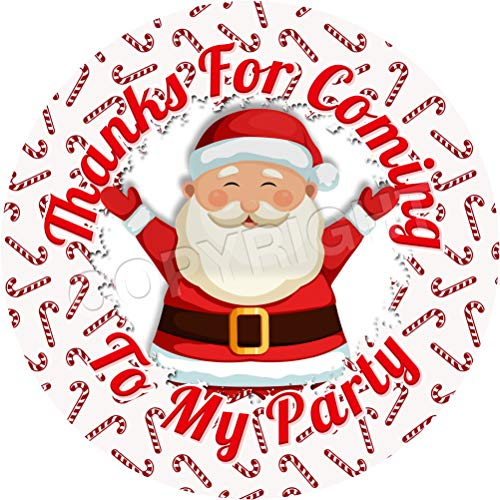 Santa Claus Festive Candy Canes Sticker Labels (12 Stickers, 2.5'' Inch Each) Seals Ideal for Party Bags, Sweet Cones, Favours, Jars, Presentations Gift Boxes, Bottles, Crafts