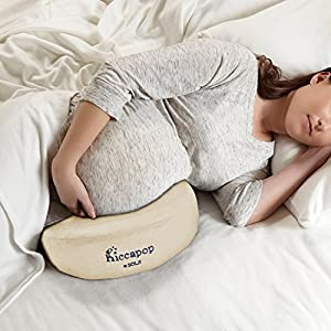hiccapop Pregnancy Pillow Wedge for Maternity | Memory Foam Pillows Support Body, Belly, Back, Knees (Cream - Off White)