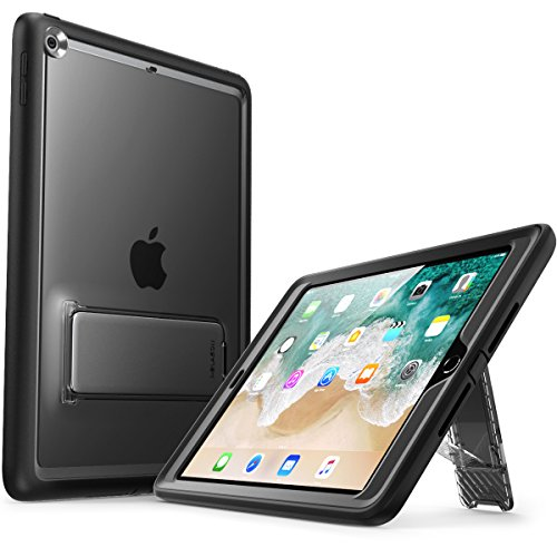 New iPad 9.7 Case 2018/2017, i-Blason [Ares Series] [Kickstand] Full-Body Rugged Protective Clear Case with Built-in Screen Protector & Dual Layer Design for Apple iPad 9.7 inch 2017/2018 (Black)