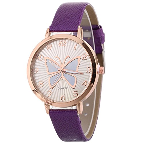 Clearance! Women's Butterfly Watches Creative Pattern Quartz Watch Leather Strap Belt Table Watch (Purple) ()