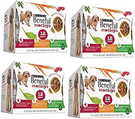 66f8329eef7 Amazon.com : Purina Beneful IncrediBites Adult Wet Dog Food Variety Pack ( Medleys Tuscan, Romana & Mediterranean Style, 4 Pack (12 cans, Each 3 oz.