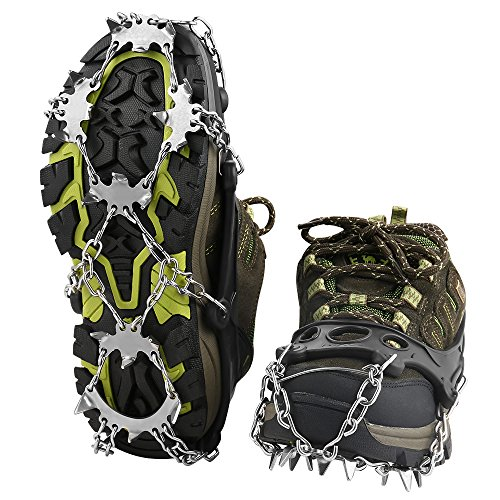 Terra Hiker Crampons with 18 Teeth and Stainless Steel Anti-Slip Traction Cleats for Walking on Snow and Ice (L)