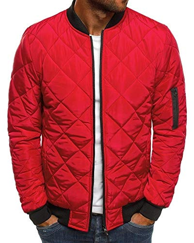 Pengfei Mens Jackets Bomber Varsity Diamond Quilted Spring Coats Outwear (XX-Large, Red) (Quilted Faux Leather Jacket Red)