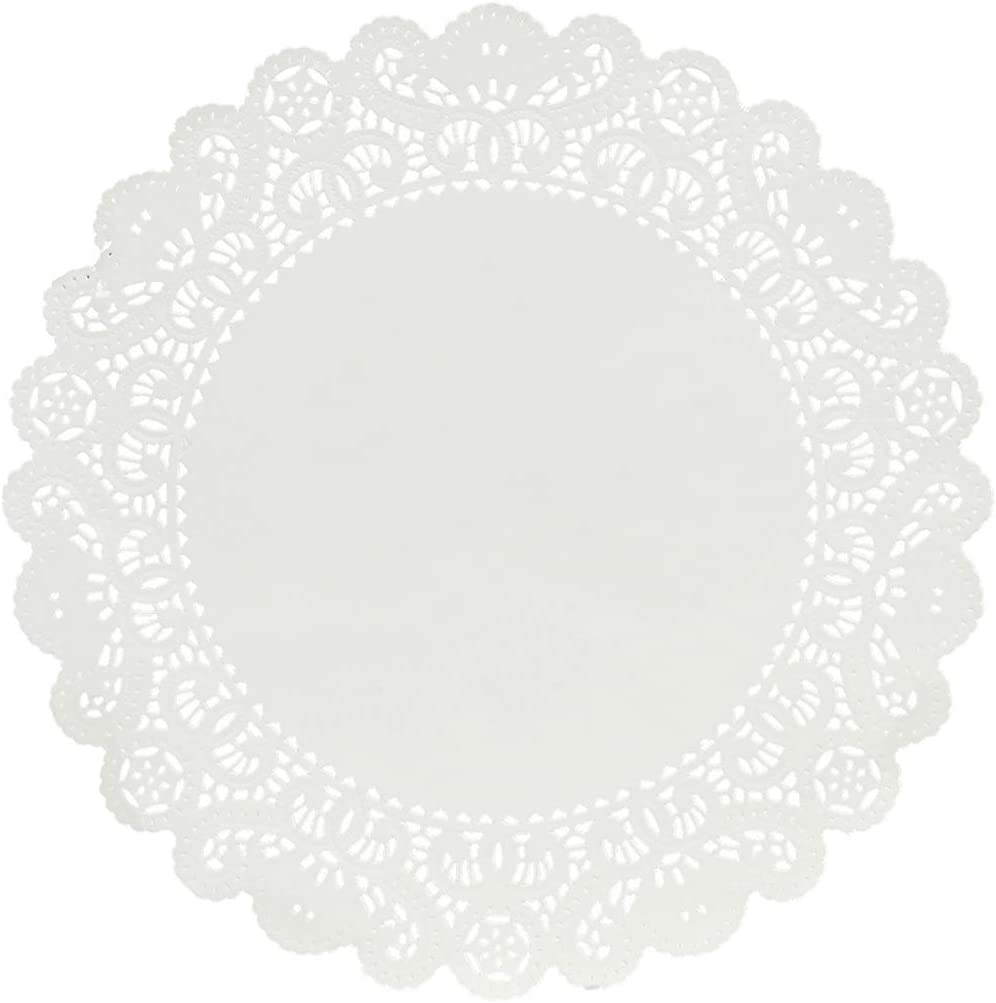 Hygloss Products Round Paper Doilies - Decorative, White Lace Doilies - Disposable - Food Grade Safe - 12 Inches - 100 Pack