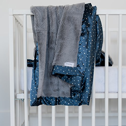 Saranoni Satin Back Receiving Blankets For Babies Super Soft Lush Luxury Baby Blanket (Gray Lush Navy Twinkle Star Satin Back, Receiving Blanket 30