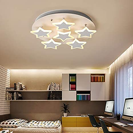 LITFAD Modern Art Deco White Dimmable Ceiling Light Star Design LED  Flushmount Pendant Light for Living Room,Children\'s Room,Dining Room