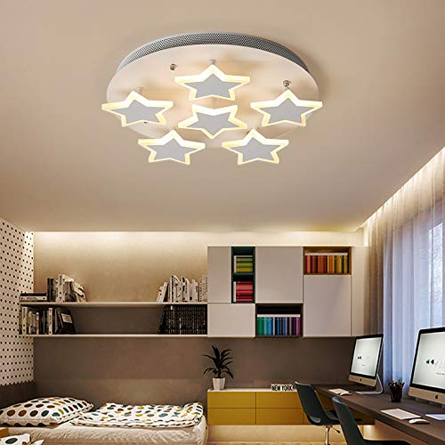 LITFAD Modern Art Deco White Ceiling Light Star Design LED Flushmount Pendant Light for Living Room,Children's Room,Dining Room ()