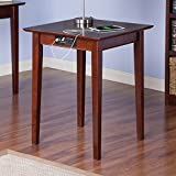 MD Group Printer Table Stand Home Office Furniture Walnut Eco-Friendly Hardwood with Charging Station