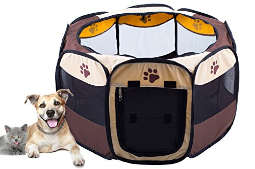 - Imperius Portable Foldable Pet Playpen/Dog Exercise Pen/Indoor Outdoor Puppy use/Water resistant Removable shade cover/Dogs/Cats/Rabbit-L
