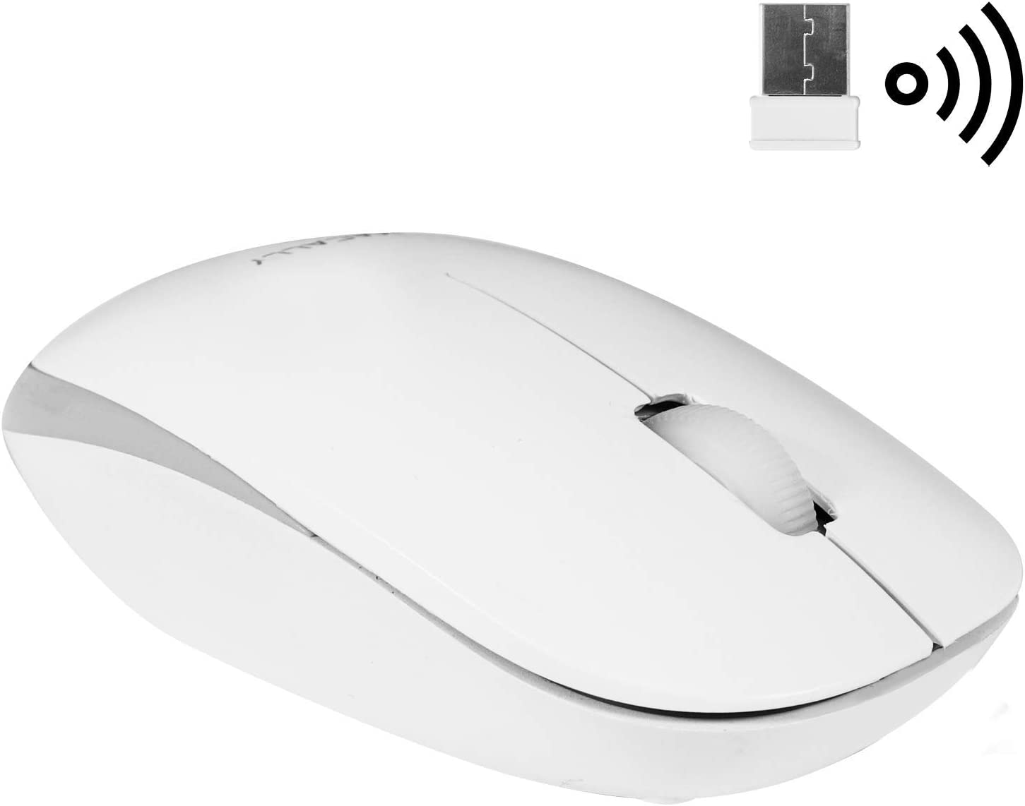Macally 2.4G Wireless Mouse (Optical) with USB Cordless Mice Receiver - Long Range & Portable - Works with Mac Mini/Apple MacBook Pro/Air or Windows PC Notebook Laptops & Desktop Computers - White