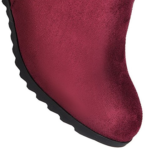 AllhqFashion Womens High-Heels Solid Closed Round Toe Frosted Zipper Boots Claret CjborBmRL