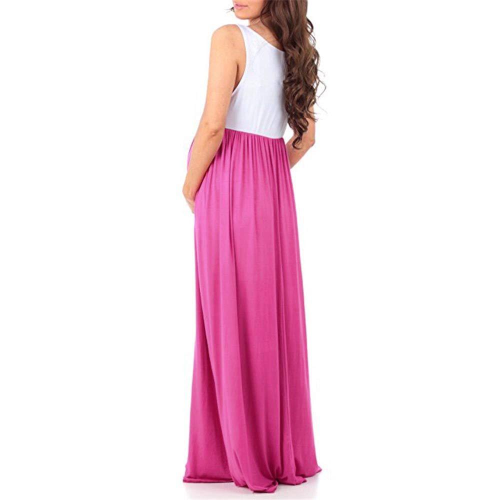 Womens Sleeveless Ruched Color Block Maternity Dress Casual Tunic Long Maxi Dress Bodycon Sundress