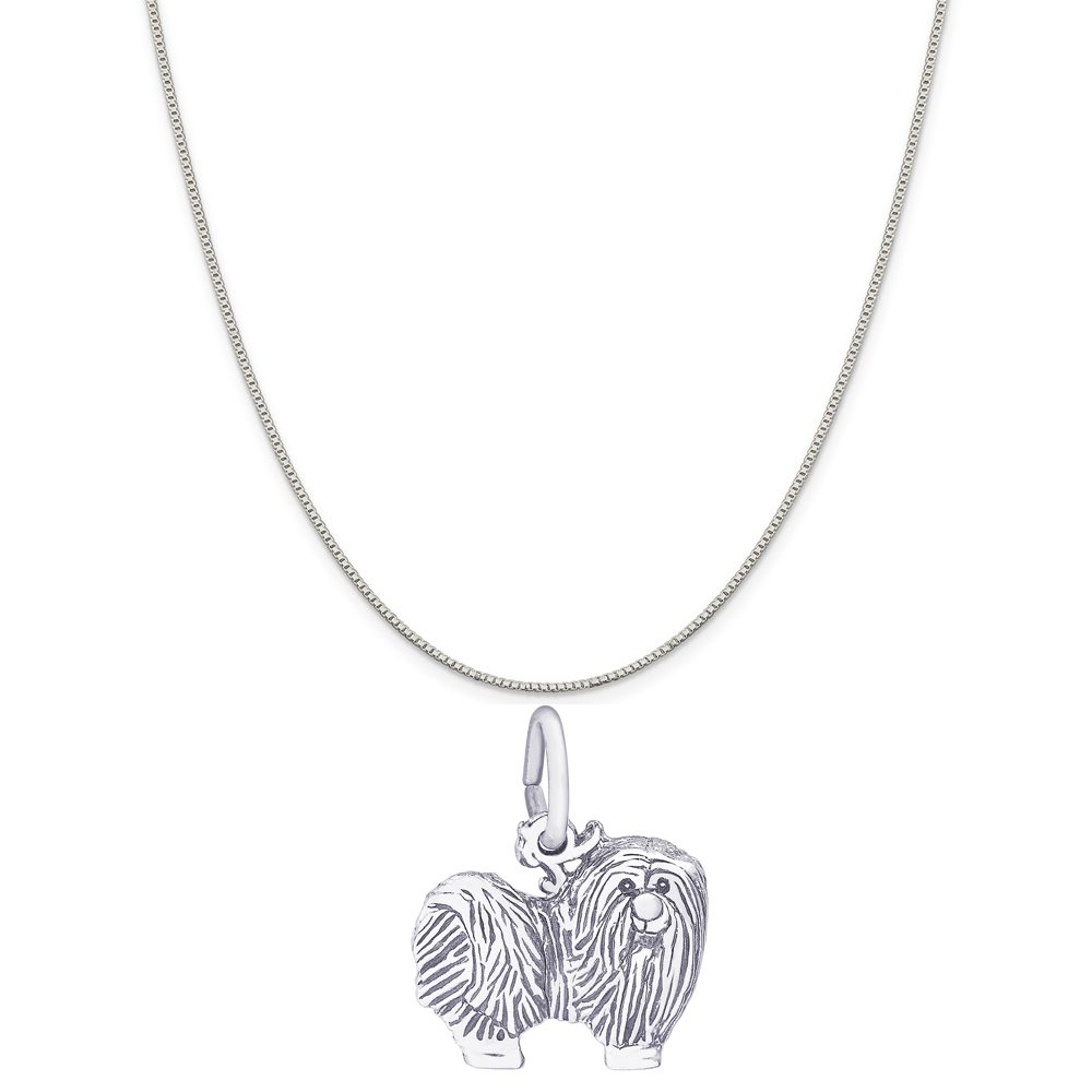 Rembrandt Charms 14K White Gold Maltese Charm on a 14K White Gold Box Chain Necklace, 18''