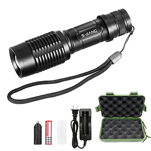 Pocket Bright Green (S-JIANG Tactical LED Flashlight Rechargeable Super Bright 1000 Lumens Flashlight Torch with 18650 Battery and Charger)