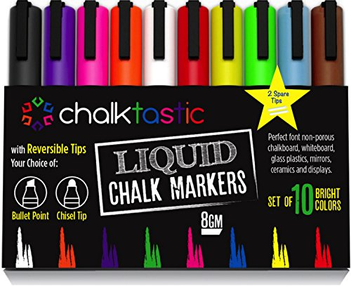Chalktastic Liquid Chalk Markers 10 Pack of Professional Quality Pens With Bright Neon Colors 6mm Reversible Fine or Chisel Tip Massive 8gm of Ink Use on Chalkboard Glass Bistro Or (Halloween Party Do List)