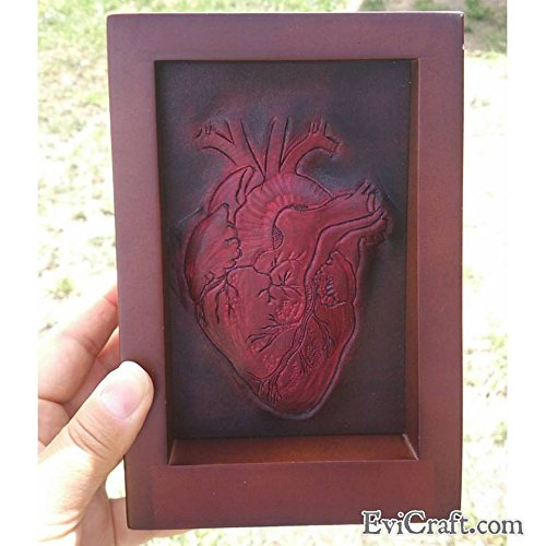 3D hand tooled Leather heart in stand frame, leather wedding anniversary, Valentine's Day gift by Evi Craft