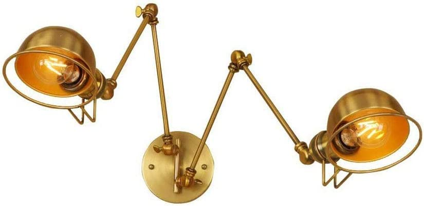 Lámpara de pared de 2 luces E27 con brazo oscilante doble, aplique pared de hierro dorado industrial, lámpara de pared nórdica vintage de hierro para bar, dormitorio, decoración sala estar, accesorio