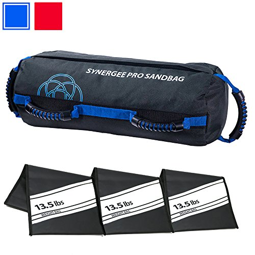 Synergee Pro Buff Blue Fitness Sandbag with (3) Filler Bags Adjustable up to 40lbs. Heavy Duty Fitness Weight ()