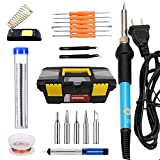 20 in 1 Soldering Iron Kit Electronics 60W 110 V-Adjustable Temperature Soldering Iron, 5pcs Soldering Iron Tips, Desoldering Pump, Soldering Stand, Solder Wire, Solder Wick, Tweezer #DLT-029