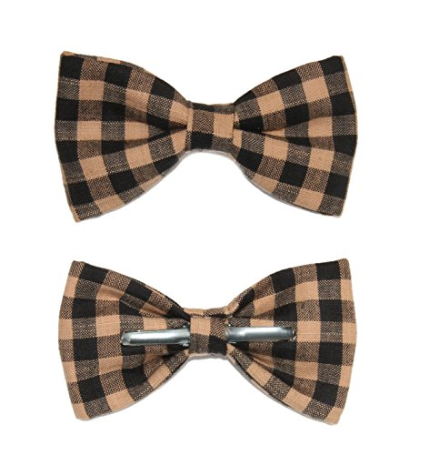 Boys Black & Tan Plaid Clip On Cotton Bow Tie Bowtie
