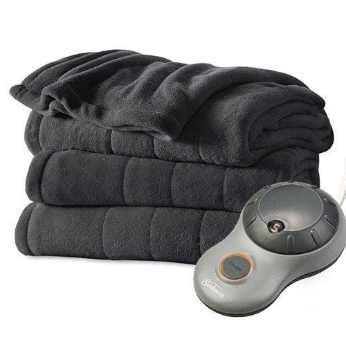 Sunbeam Heated Electric Blanket Channeled Microplush Twin Si