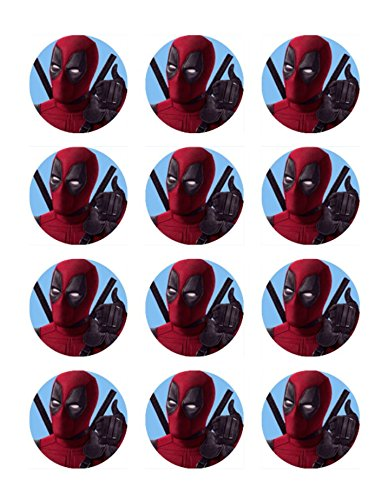"""Price comparison product image Deadpool 2"""" Cupcake Edible Topper Images Set of 12"""