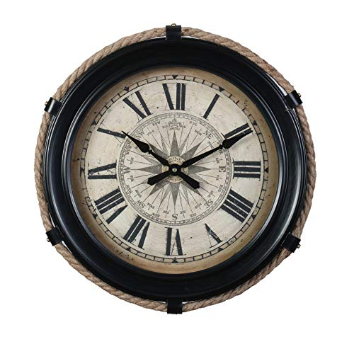 Pendulux Derby Compass Decorative Wall Clock, Vintage Unique Wall Clock for Outdoor and Home Decor, Black – Small