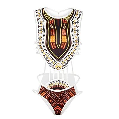 tengweng Women African Print One Piece Monokini Swimsuit High Cut Backless Bikini