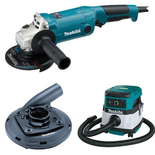 Makita GA5020 5-Inch Angle Grinder with Super Joint System  with Makita 195236-5 4-1/2-Inch - 5-Inch Dust Shroud  with Makita XCV04Z 18V X2 LXT Lithium-Ion Cordless/Corded Dry Vacuum, 2.1 gallon