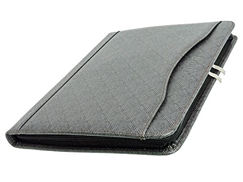 Zipper Binder Business Card Organizer Leather Padfolio iPad Tablet Sleeve Writing Pad Portfolio Folder Interview Conference Meeting Professional Executive Resume Legal Letter Documents Holder (Gray)