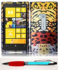 Accessory Factory(TM) Bundle (the item, 2in1 Stylus Point Pen) For Nokia Lumia 920 Rubberized Design Cover Case - Wild Leopard