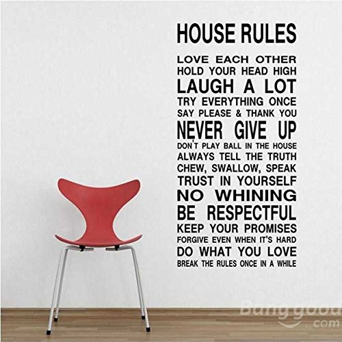 (Mark8shop House Rules Art Words Graphics PVC Wall Sticker Wallpaper)