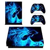 xbox one controller personalized - eXtremeRate Blue Flame Full Set Faceplates Skin Stickers for Xbox One X Console Controller with 2 Pcs Home Button Decals