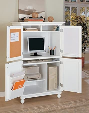 Amazon.com: White Finish Louvered Design Computer Armoire Desk Workstation:  Kitchen U0026 Dining