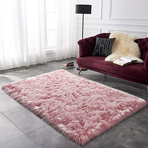 YOH Pink Fur Rug for Girls Bedrooms Faux Fur Sheepskin Rug Rectangle Area Rugs Bedside Floor Carpet Rugs for Bedroom Kid's Room, Living Room (3 x 5 Feet, Pink)