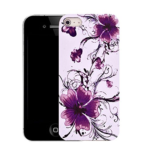 Mobile Case Mate IPhone 4s clip on Silicone Coque couverture case cover Pare-chocs + STYLET - calm floral pattern (SILICON)