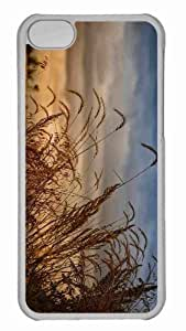 Customized iphone 5C PC Transparent Case - Dark Clouds Over Field Personalized Cover