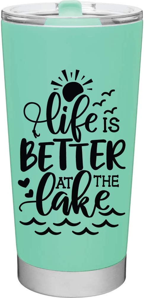Life is Better at the Lake - Lake Gifts for Women or Men - 20oz Vacuum Insulated Stainless Steel Travel Mug with Lid by MugHeads (Mint)