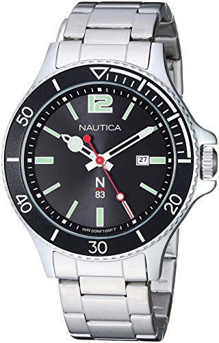 (Nautica N83 Men's NAPABS910 Accra Beach Silver/Black Stainless Steel Bracelet Watch)