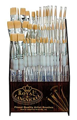 "Royal Brush SGFLAT-72 Soft Grip Flat Golden Taklon Fiber Non-Slip Rubber Grip Acrylic Paint Brush Assortment, Assorted Size, 11.4"" Height, 8"" Width, 8"" Length (Pack of 72)"